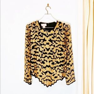 Vintage Gold Sequin Classic Night Club Blouse